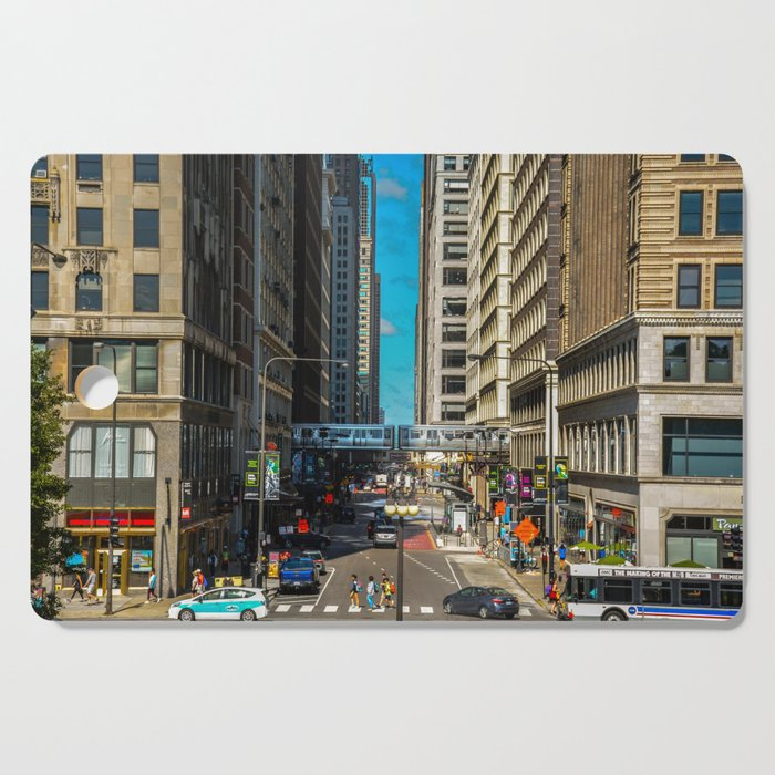 Cartoony Downtown Chicago Cutting Board