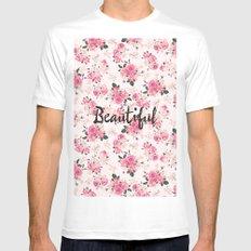 Elegant Pink Vintage Floral Pattern Typography Mens Fitted Tee MEDIUM White