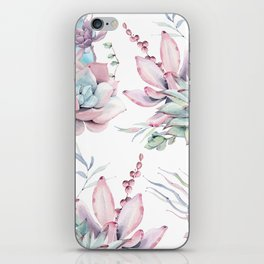 Pretty Pastel Succulents Garden 1 iPhone Skin
