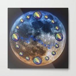 Moon Under Lightning Bolts Spheroid Metal Print