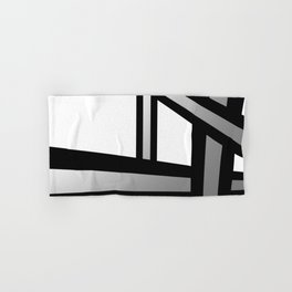 Bold Metallic Beams - Minimalistic, abstract black and white artwork Hand & Bath Towel