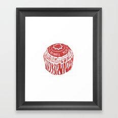 Tea Cake pen drawing (red) Framed Art Print
