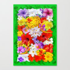Exotic Flowers Colorful Explosion Canvas Print