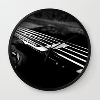 bass Wall Clocks featuring Bass  by Lia Bedell