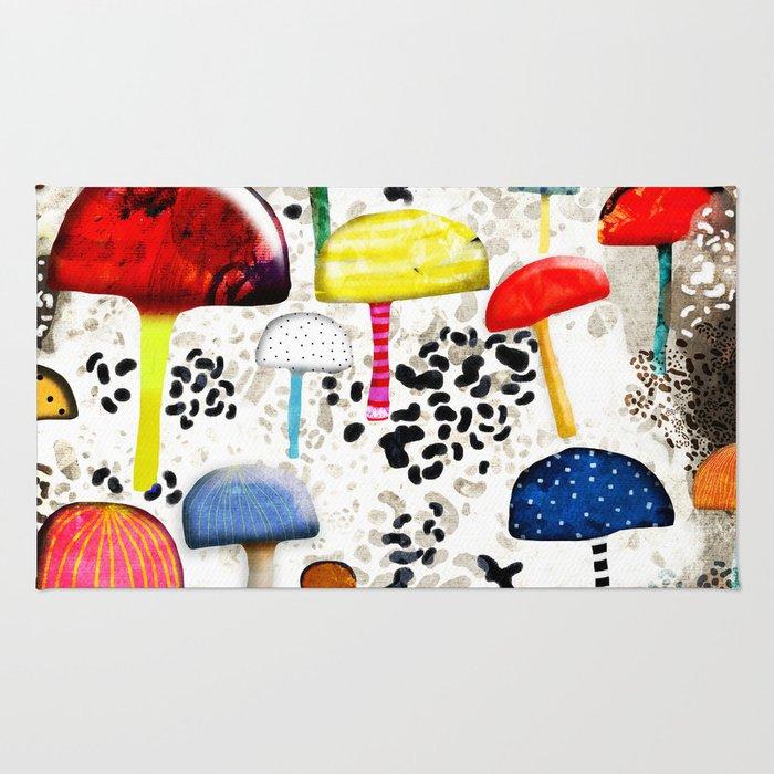 Mein Ein, mein Alles - Mushrooms Abstract Botanical Art - cute animal print - Leopard Muster Rug
