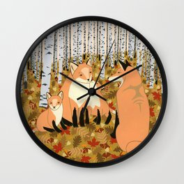 Fox family in the autumn forest Wall Clock