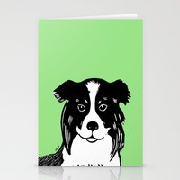 border collie Stationery Cards featuring Border Collie Printmaking Art by Artist Abigail