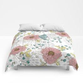 Blue Bird and Peonies Comforters