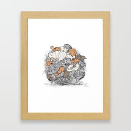 Hairball Buddies Framed Art Print