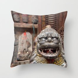 Fu with Prayer Wheels in Background Throw Pillow