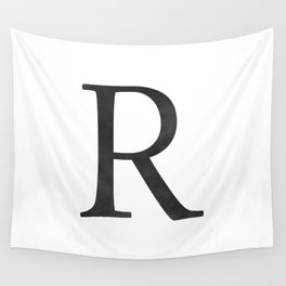 Letter R Initial Monogram Black and White Wall Tapestry