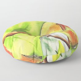 Semi-abstract leaves in watercolor Floor Pillow