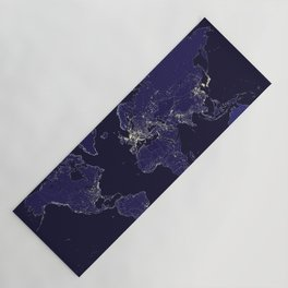 The world map at night with outlined countries Yoga Mat
