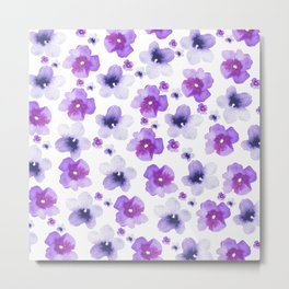 Modern purple lavender watercolor floral pattern Metal Print