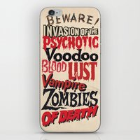 movie posters iPhone & iPod Skins featuring B Movie Beware by ochre7