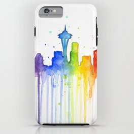 Seattle Skyline Rainbow Watercolor iPhone Case