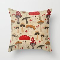 mushrooms Throw Pillows featuring Mushrooms by Lynette Sherrard Illustration and Design