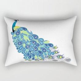 Peacock - Yellow, Green and Gray Rectangular Pillow