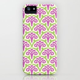 Floral Scallop Pattern Magenta and Chartreuse iPhone Case