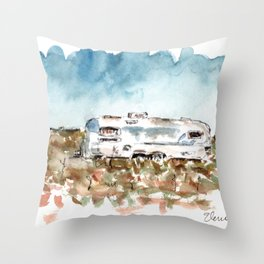 Airstream in West Texas Throw Pillow