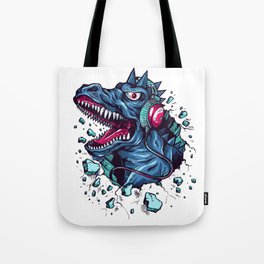 Dino with Headphones BLUE Orient Tote Bag