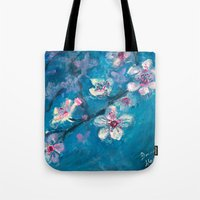 cherry blossoms Tote Bags featuring Cherry Blossoms by Spinning Daydreams