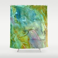 stained glass Shower Curtains featuring Stained Glass by Rosie Brown