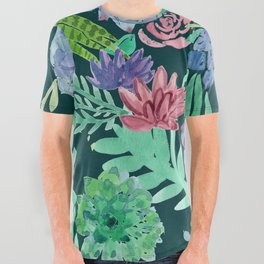 Watercolor Succulent Collage All Over Graphic Tee