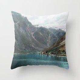 Village by the Lake & Mountains Throw Pillow