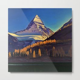 Rocky Mountains with Fir and Aspen Trees landscape painting by Rockwell Kent Metal Print