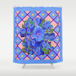 Blue Diamond Patterns Morning Glories Art Shower Curtain