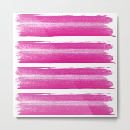 Simply handrawn pink stripes on white background Metal Print