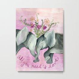 All You Need is Love Elephants Metal Print