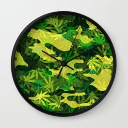 Green Marijuana Cannabis camo camouflage army style pattern Wall Clock