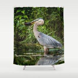 Heron's beakfast Shower Curtain