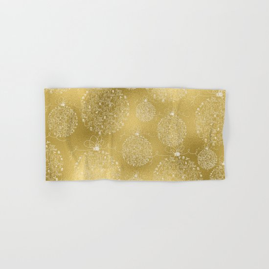 Merry christmas- christmas balls on gold pattern Hand & Bath Towel