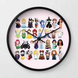 Cute kokeshis fairy tales Wall Clock