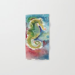Watercolor sea horse painting Hand & Bath Towel