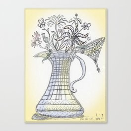 Pitcher with Flowering Plants (yellow) Canvas Print