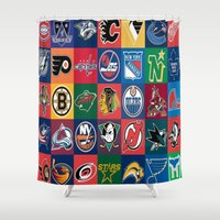 hockey Shower Curtains featuring Hockey Logos by RickART