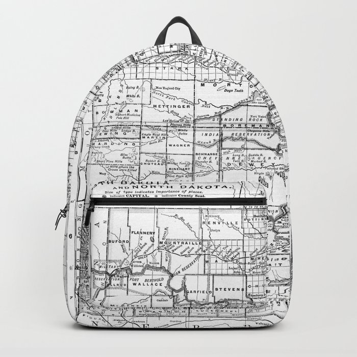 Vintage Map of North and South Dakota (1891) BW Backpack by ...