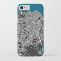 san francisco map iPhone & iPod Cases featuring San Francisco city map black colour by MCartography