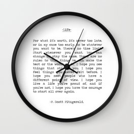 Life quote F. Scott Fitzgerald Wall Clock