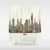 oklahoma Shower Curtains featuring Tulsa oklahoma by bri.buckley