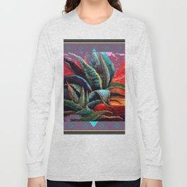 PUCE GREY ART DECO SOUTHWEST DESERT AGAVE Long Sleeve T-shirt