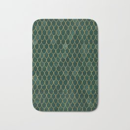 Mermaid Fin Pattern // Emerald Green Gold Glittery Scale Watercolor Bedspread Home Decor Bath Mat