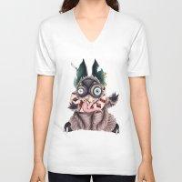 bucky V-neck T-shirts featuring Bucky by Maria Gabriela Arevalo Reggeti