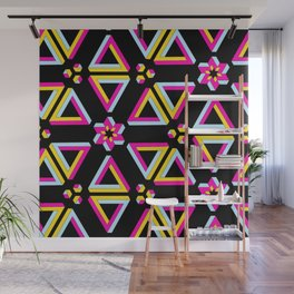 Vibrant Penrose Triangle Pattern Wall Mural