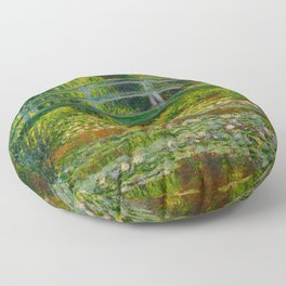 Claude Monet Impressionist Landscape Oil Painting-The Japanese Footbridge and the Water Lily Pool, Floor Pillow