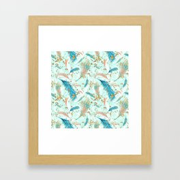 Golden Peacock Feather Pattern 02 Framed Art Print
